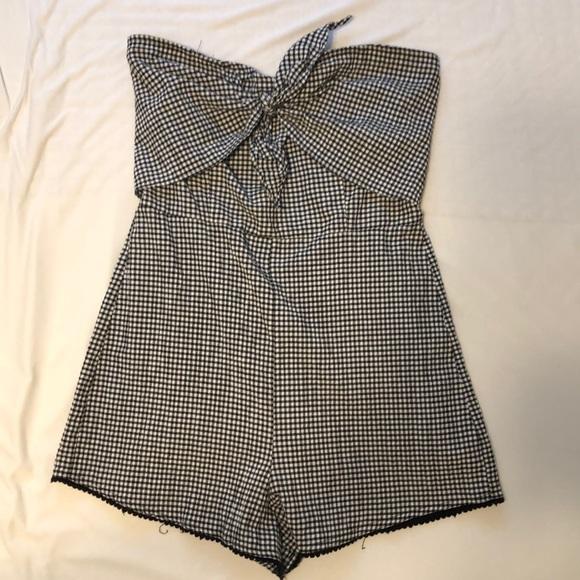 0bfa6a88709 Bershka Pants - Black and white checkered strapless romper